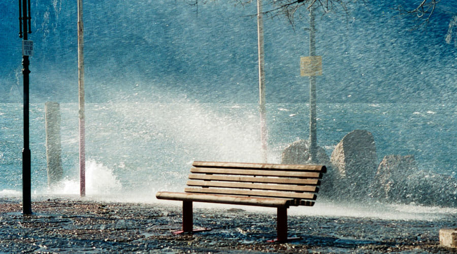wave and bench