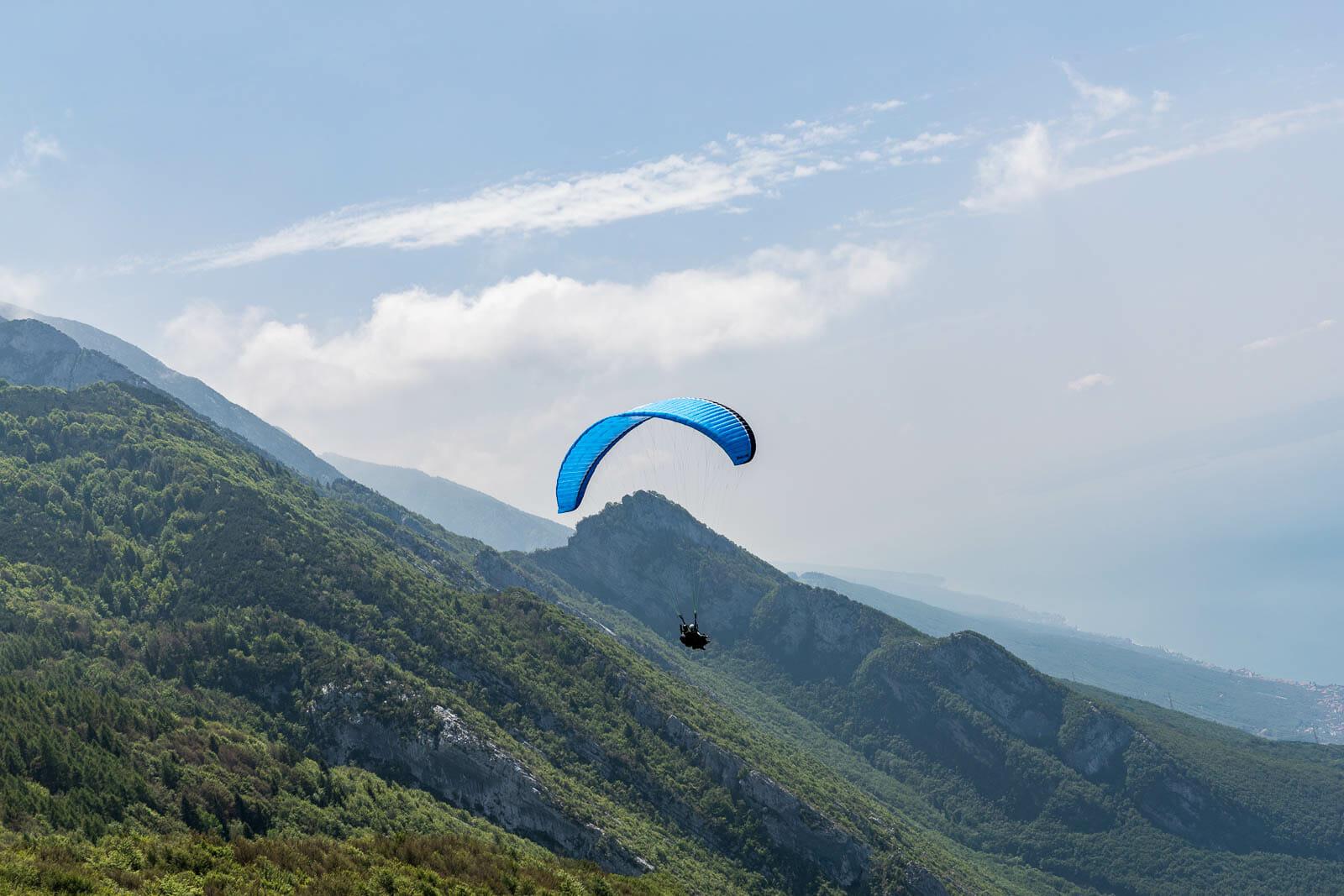 paraglider and monte baldo