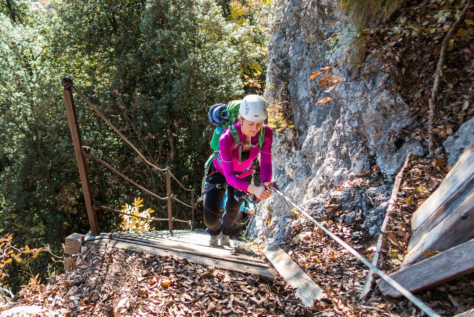 equipped path Sentiero degli scaloni uphill
