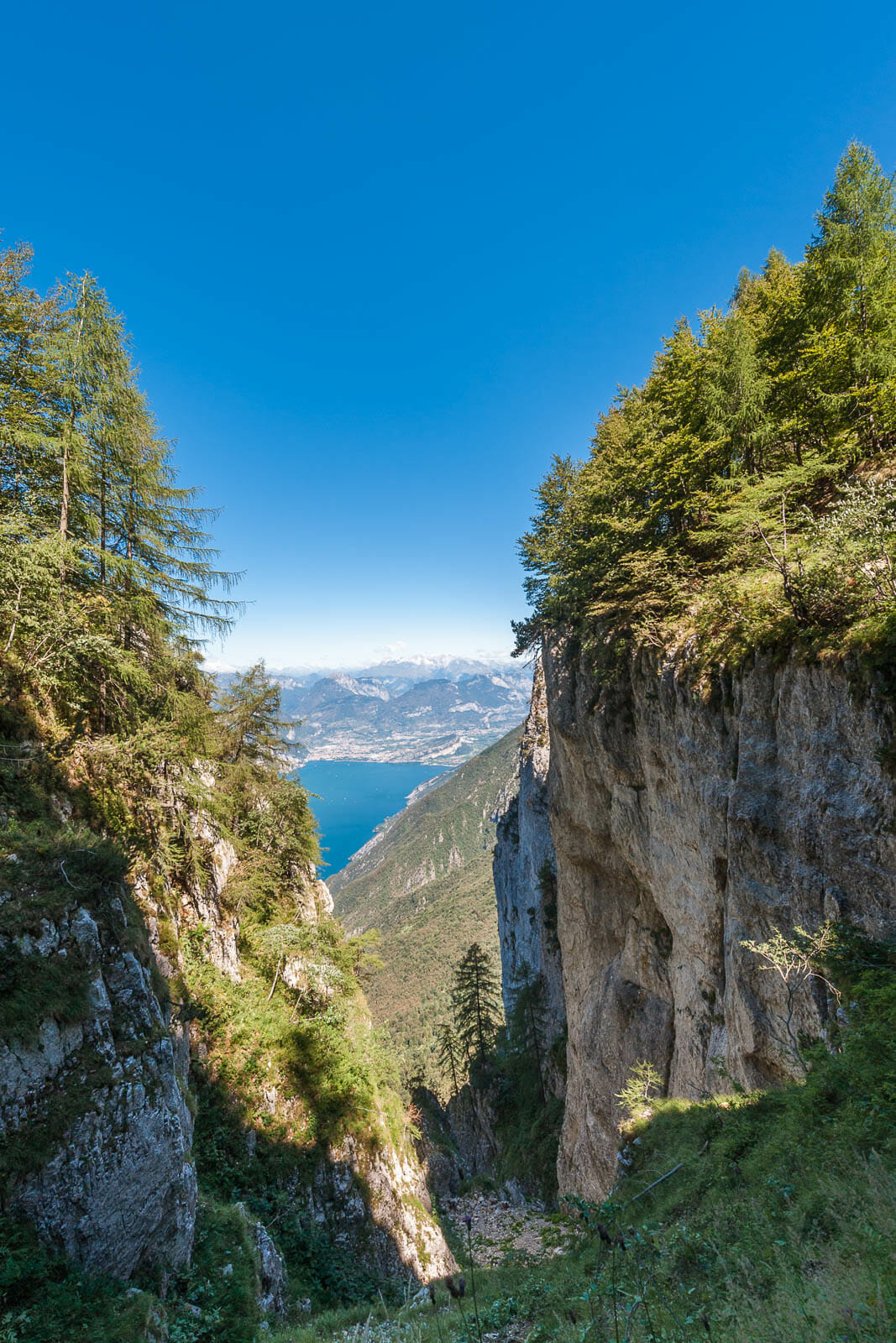 Ventrar path on Monte Baldo and lake view