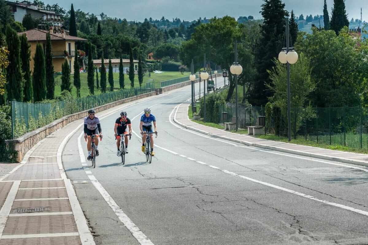 road bike route in san zeno di montagna at lake garda
