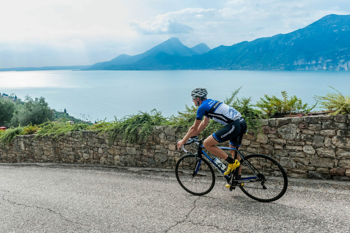 road bike route at lake garda with panoramic view