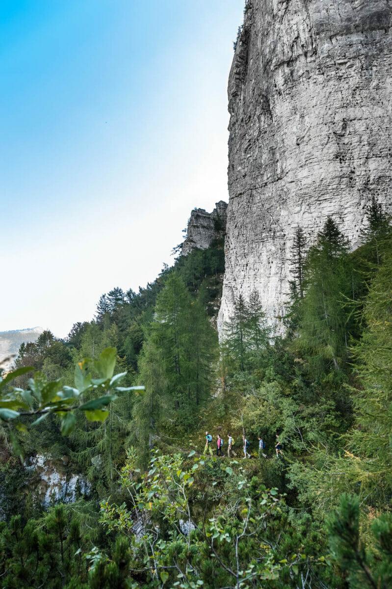 Ventrar Strecke auf den Monte Baldo Felswand