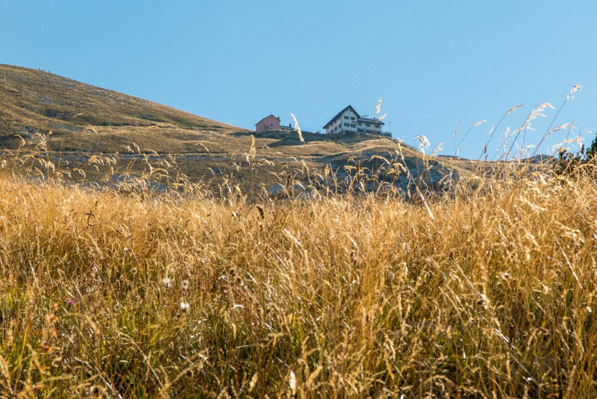 monte baldo wanderroute weg 654 berghutte und wiese