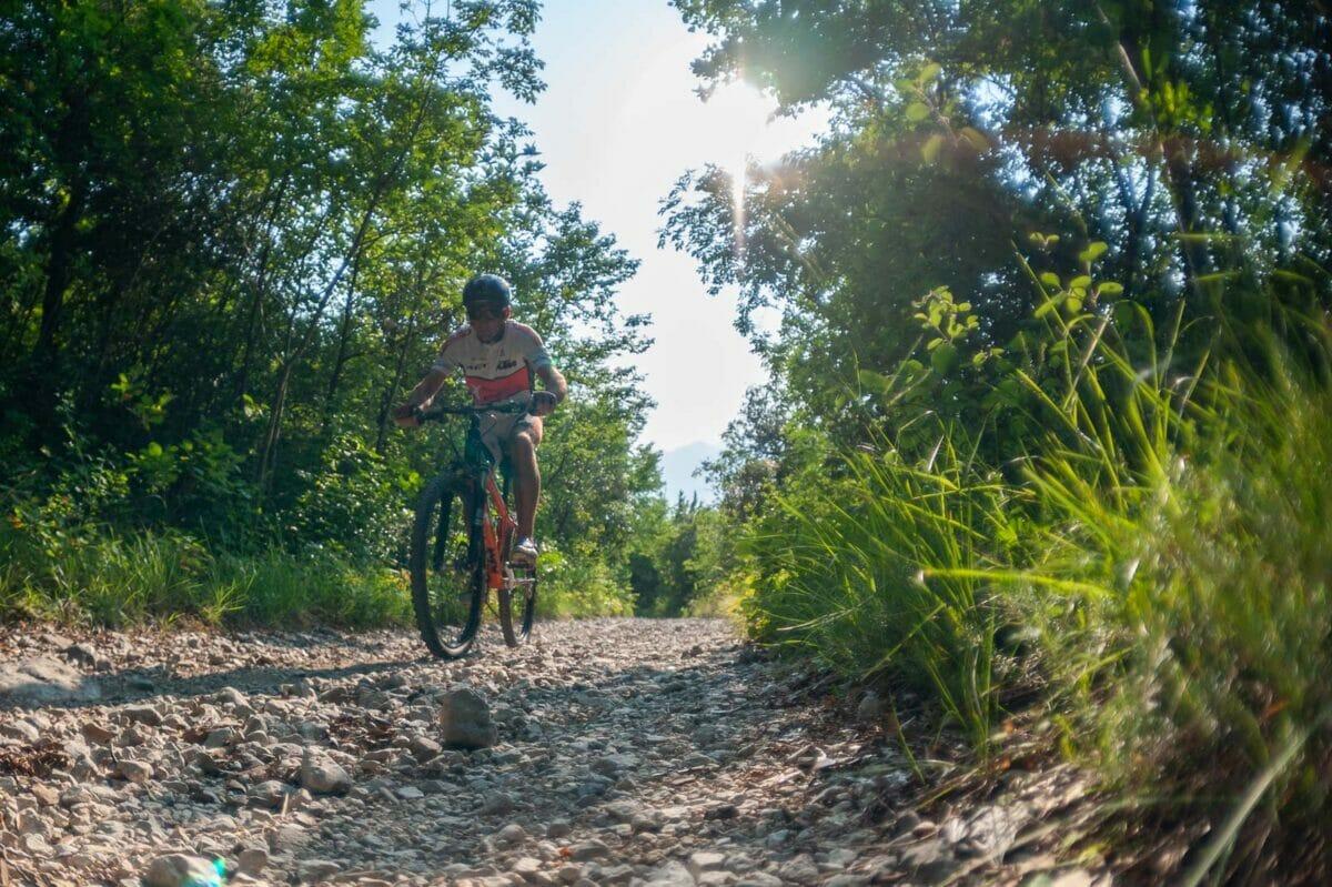 biking on an easy white road