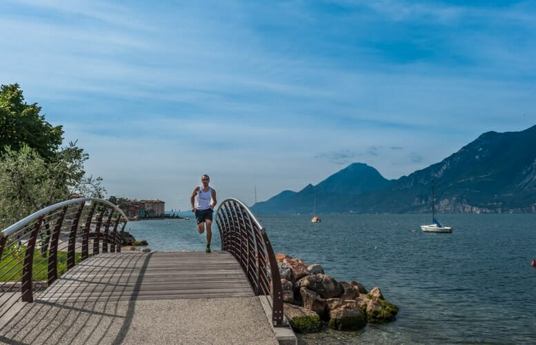 Running on a cycle path on lake garda