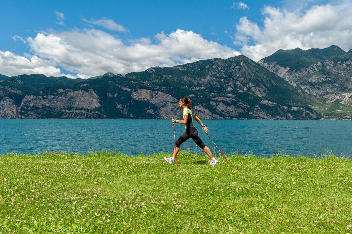 nordic walking along lake shores