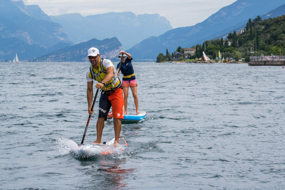 paddling with sup on the lake