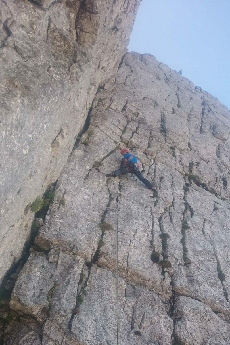 alpine climber on the molinaroli route