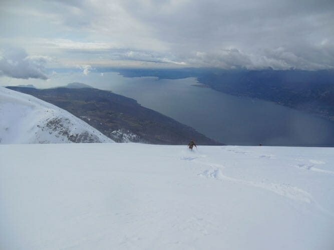 ski touring with lake view