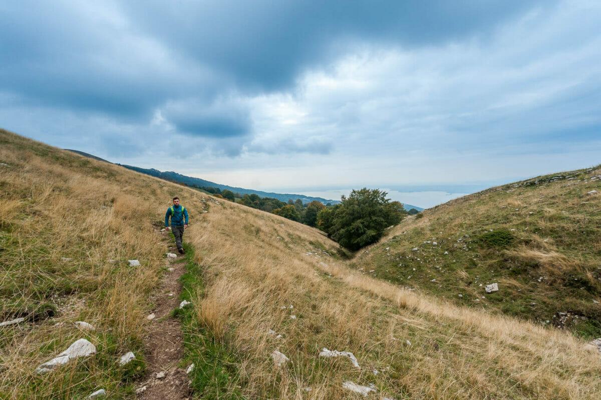 trekking sul sentiero nel prato