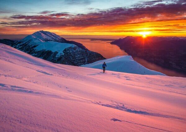 ski touring at dusk