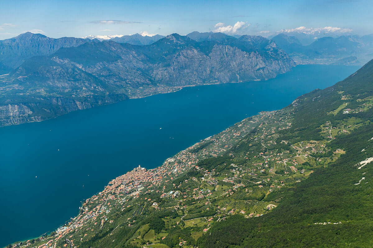 malcesine and the lake saw from the paragliding