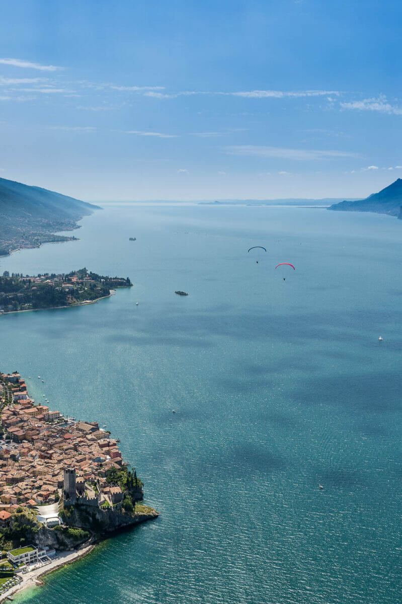 lake garda and malcesine from the paragliding