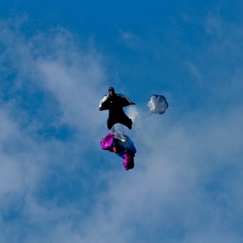 base jumper with wing suit