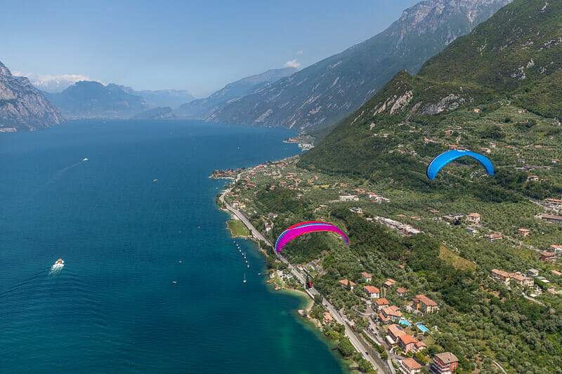 panoramic view over the lake from the paragliding