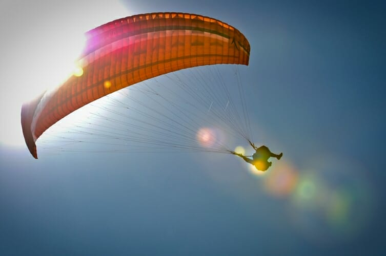 red paragliding
