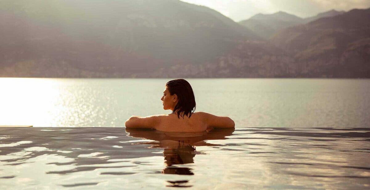 swimming pool lake view