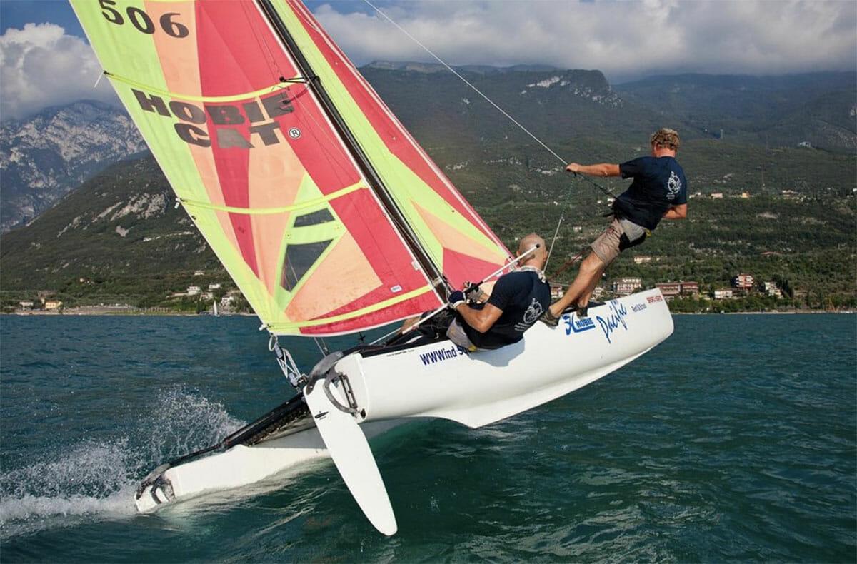 sailing a catamaran at lake garda